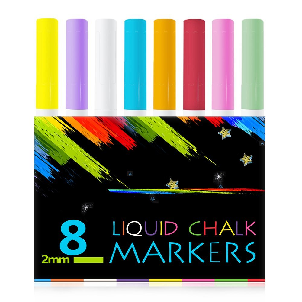 Atalanta® Color Liquid Chalk Marker Pens-8 Packs Premium Quality Liquid Chalk Marker With 2mm Fine Tip ,Safe for Kids, Teachers ,Fall Designs, Stencil Use, Artist, Crafters, Writing and Drawing