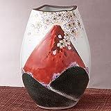 九谷焼 花瓶 赤富士 (陶器 和風 花器 インテリア プレゼント)