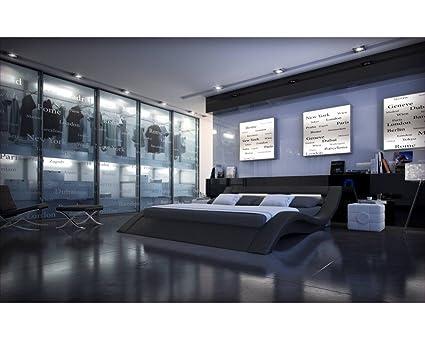 Lit design noir lumineux Sydney 180cmx200cm Sans matelas Avec sommier