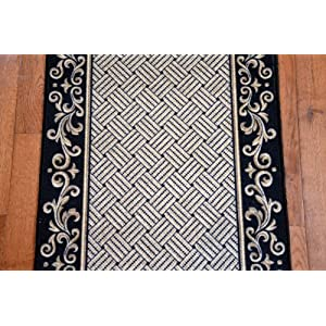 black scroll border washable non skid carpet rug runner purchase by the linear. Black Bedroom Furniture Sets. Home Design Ideas