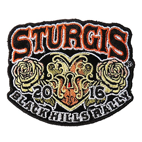 Hot Leather Men's Official 2016 Sturgis Motorcycle Rally Heart Lock Patch