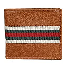 Gucci 231845 Saddle Brown Leather Men's Web Bifold Wallet