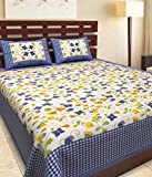 Kismat Collection Vintage Cotton Printed Double Bedsheet With 2 Pillowcases