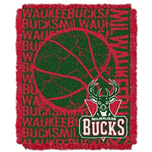 NBA Milwaukee Bucks 48 x 60-Inch Double Play Jacquard Triple Woven Throw by Northwest