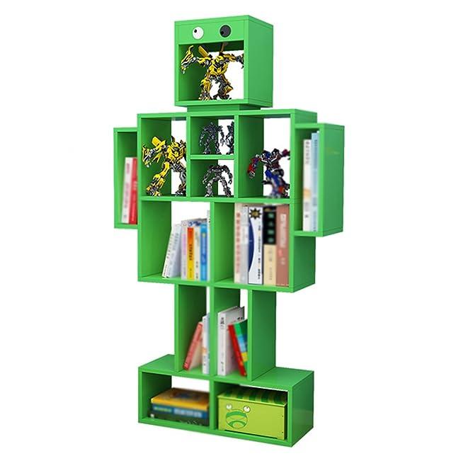 WSSF- Scaffale per libri Scaffale a terra Creativo per bambini Robot Scaffale Colore Libreria per bambini Piccolo asilo Scaffali di stoccaggio a più strati Casa multifunzionale Scaffalatura di finitura per organizer (Colore opzionale, 60 * 24 * 140