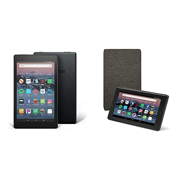 Fire HD 8 Tablet (16 GB, Black, With Special Offers) + Amazon Standing Case (Charcoal Black) (Color: Black)