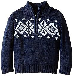 Pumpkin Patch Little Boys\' Knit Half-Zip Sweater, Orion Blue Marle, 2