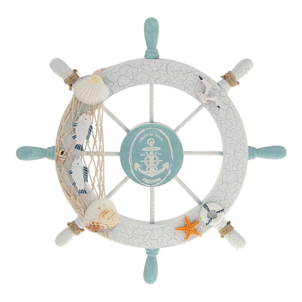 Nautical Beach Wooden Boat Ship Steering Wheel Fishing Net Shell Home Wall Decor White - Fish