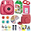 FujiFilm Instax Mini 8 Instant Film Camera Raspberry + Instax Mini Film Twin Pack (20 Sheets) + PU leather Case + Frames + Album + 4 Color Filters + Selfie Mirro And More 9 in1 Top Accessories Bundle
