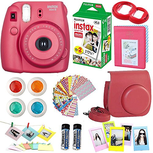 FujiFilm-Instax-Mini-8-Instant-Film-Camera-Raspberry-Instax-Mini-Film-Twin-Pack-20-Sheets-PU-leather-Case-Frames-Album-4-Color-Filters-Selfie-Mirro-And-More-9-in1-Top-Accessories-Bundle