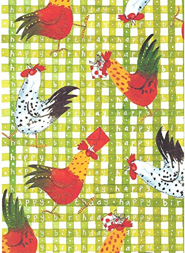 Alex Clark Art Chicken Happy Birthday Rolled Gift Wrap Paper