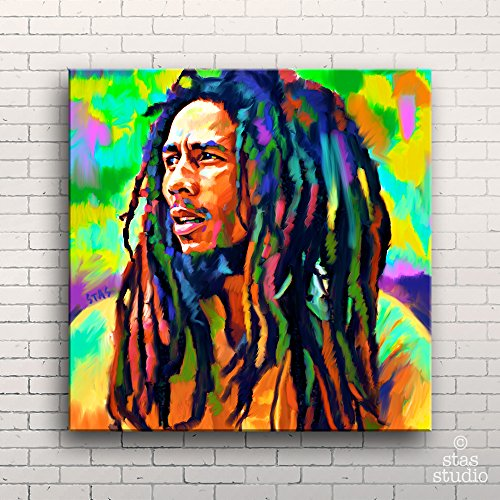 BOB MARLEY - Painting Giclee CANVAS PRINT by Stas Studio (Large / MOUNTED Gallery Wrap) (Bob Marley Painting compare prices)