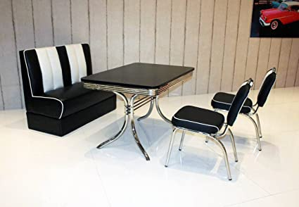 Bank-Sitzgruppe American Diner Vegas King6 6tlg in schwarz schwarz