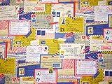 コスモテキスタイル エアメール 手紙 シーチング AP51505 約110cm巾×50cmカット col.2A