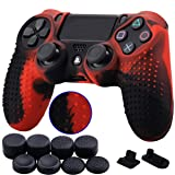 9CDeer 1 Piece of Silicone Studded Dots Protective Sleeve Case Cover Skin + 8 Thumb Grips Analog Caps + 2 dust proof plugs for PS4/Slim/Pro Dualshock 4 Controller, Black Red (Color: Black Red, Tamaño: studded)