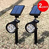 GRDE® Newest Version Amphibious Bright LED Solar Lights Outdoor Spotlight / Wall Lighting, Solar Powered Waterproof for Landscape Garden Driveway Pathway Yard Lawn Solar Energy Exterior Lightings, Practical Security Lamps not only for Ground also for Wall