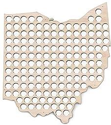 Ohio Beer Cap Map - 20x23 inches - 154 caps - Beer Cap Holder Ohio - Birch Plywood