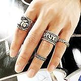 SwirlColor 4PCS punky de la vendimia Anillo Set tallada de elefante de plata antiguo tótem suerte de hoja de joyería de los anillos