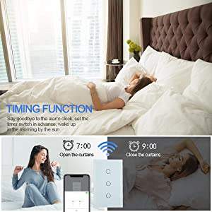 HHGAOKO WiFi Smart Curtain Switch,Automatic Blind Opener Wall Touch Panel Switch,Jinvoo APP,Compatible with Alexa and Google Assistant(White) (Color: White)