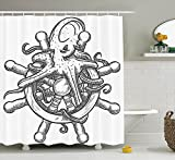 Octopus Decor Collection Dangerous Kraken Octopus on Helm of Sailing Ship with Tentacles around Handles Print Polyester Fabric Bathroom Shower Curtain Set Black White