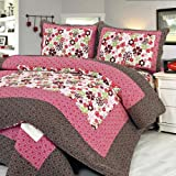 61jO0uOcseL. SL160  [Eranthe] 100% Cotton 3PC Floral Vermicelli Quilted Patchwork Quilt Set (Full/Queen Size)
