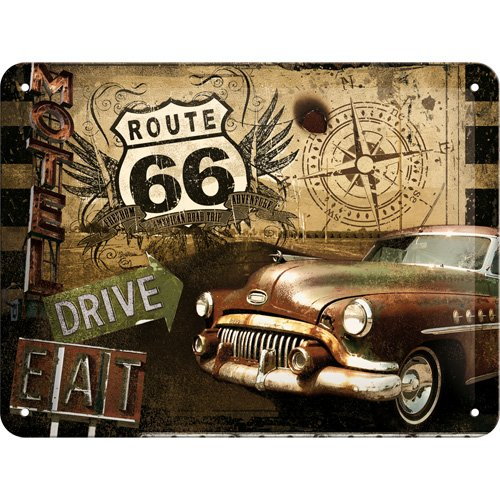 Targa di metallo 15 x 20 cm - Route 66 Road Trip