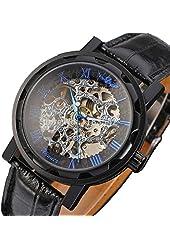 Classic Transparent Skeleton Hand-winding Mechanical Blue Scale Wrist Men Watch