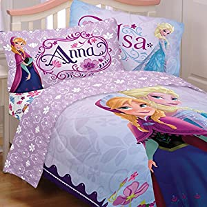 Disney Frozen Full Bedding Set 5pc Anna Elsa Celebrate Love Comforter and Sheets