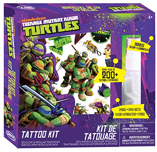 Savvi Teenage Mutant Ninja Turtles 200 Pie Sparkle Studio Tattoo and Sticker Kit (268 Piece) - 1