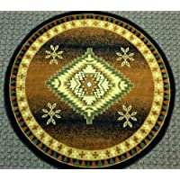 South West Area Rug Round 5 Ft. 3 In. X 5 Ft. 3 In. Black Bellagio 357