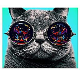 Cool Cat Canvas Poster Framed on Wood Frame,Cat Picture Canvas Prints for Wall Decor,Ready Hanging On,Nice Animal Art Gift,Cool Cat Room Decoration