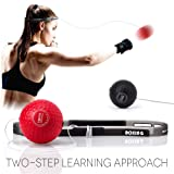 TEKXYZ Boxing Reflex Ball, 2 Difficulty Level Boxing Balls with Headband, Softer Than Tennis Ball, Perfect for Reaction, Agility, Punching Speed, Fight Skill and Hand Eye Coordination Training (Color: Black&Red)