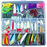GOGO Fishing Tackle Box, Frog Lures, Hard and Soft Baits, 133 Pcs