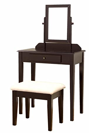 Home Style Vanity Table Mirror and Stool Set with Storage Drawer - Espresso