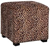 Lux Home Leopard Animal Print Ottoman Cube