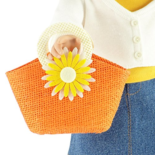 18-inch Doll Accessories | Doll-Sized Woven Orange and Cream Daisy Flower Purse - Handbag | Fits American Girl Dolls - 1