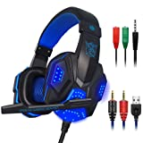 Gaming Headset for Laptop Computer, Cellphone, PS4 and so on, maxin 3.5mm Wired Noise Isolation Gaming Headphones with Mic and LED Light- Volume Contr