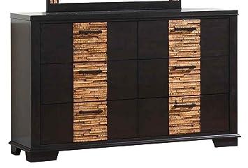 Dominic 6-Drawer Dresser in Gray/ Textured Oak-Like Finish