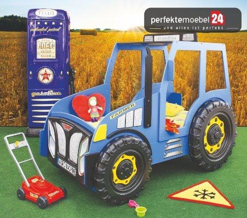 TRAKTOR Bett Autobett Kinderbett Spielbett inkl. Lattenrost und Matratze kurze Lieferzeit! (blau) günstig online kaufen