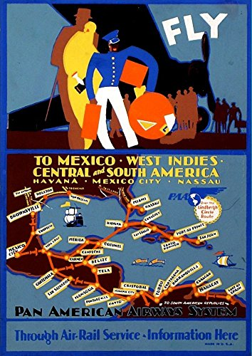 pan-am-mexico-west-indies-1929-wonderful-a4-glossy-art-print-taken-from-a-rare-vintage-travel-poster