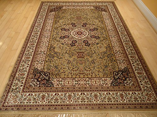 Luxury Silk Gold Rug Traditional Area Rugs Persian Kashan