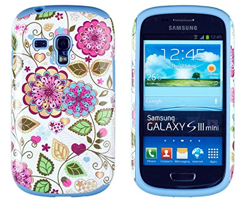 Dandycase 2In1 Hybrid High Impact Hard Colorful Spring Flowers Pattern + Sky Blue Silicone Case Cover For Samsung Galaxy S3 Mini I8190 + Dandycase Screen Cleaner