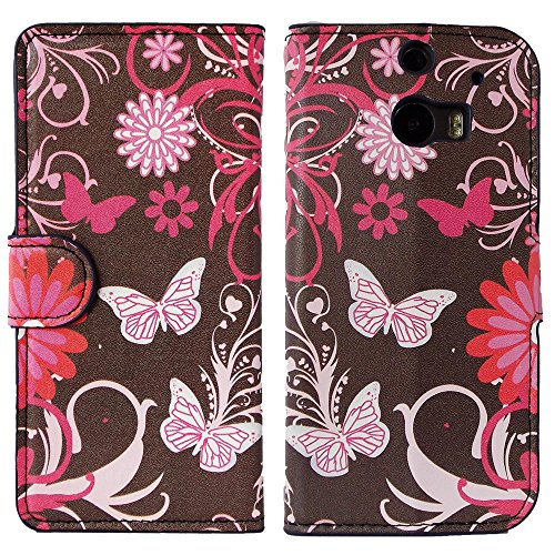 Mylife (Tm) Chocolate Brown + Pink Butterfly {Graphic Design} Faux Leather (Card, Cash And Id Holder + Magnetic Closing) Slim Wallet For The All-New Htc One M8 Android Smartphone - Aka, 2Nd Gen Htc One (External Textured Synthetic Leather With Magnetic Cl