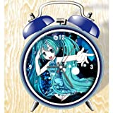 XINGQU Miku Vocaloid Miku Hatsune Anime Colorful Design Twin Bell Alarm Clock, Blue