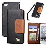 iPhone 5 case,iPhone 5s case,By HiLDA,Wallet Case,PU Leather Case,Credit Card Holder,Flip Cover Skin[Black]