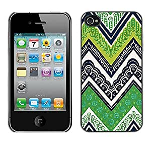 Omega Covers - Snap on Hard Back Case Cover Shell FOR Apple iPhone 4 / 4S - Lines M W Green