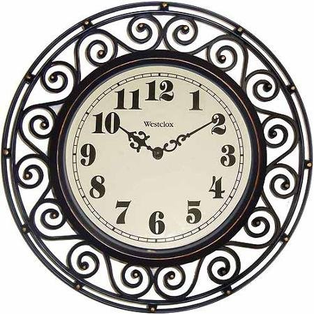 Brown Westclox Wrought Iron Look Decor Wall Clock (Big Wrought Iron Clock compare prices)