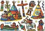 indios Ventana im�genes en DIN A4�de Lutz Mauder//coloridas im�genes adhesivas para el FensterSticker Regalos Manualidades Jugar pegar UU Totem Wigwam caballo pony estrellas squao canoa