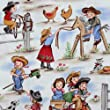 funny Michael Miller vintage fabric cowboy girls (per 0.5m multiple)