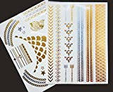 Righteous Lotus Temporary Metallic Tattoos - Beautiful Non-Permanent Jewelry Tattoos in Gold and Silver (Alessa Collection - 2 Sheets)